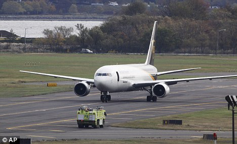 Suspected bomb: A United Parcel Service jet has been isolated on a runway at Philadelphia International Airport