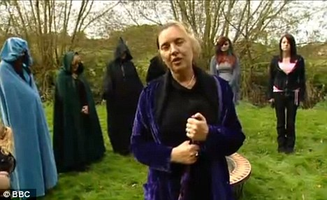 Dressed in hooded gowns, women were seen standing in a circle around a cauldron while ritualistic acts were conducted
