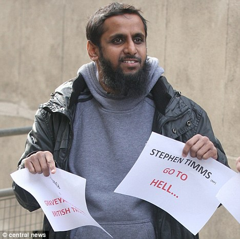 Insults: Mohammed Shamsuddin, 34, said 'the majority of Muslims sympathise with our Sister Roshonara' - the woman who tried to kill Stephen Timms