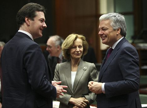 Relaxed: Chancellor George Osborne, Spanish Finance Minister Elena Salgado and Belgian Finance Minister Didier Reynders in Brussels yesterday