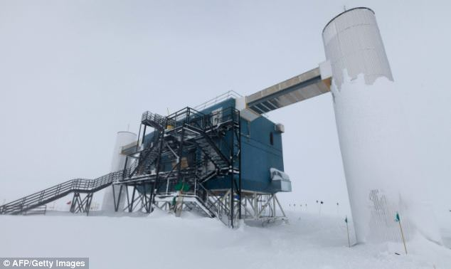 The IceCube lab on the Antarctic tundra near the US Amundsen-Scott South Pole Station. Scientists have been building the observatory for the past five years