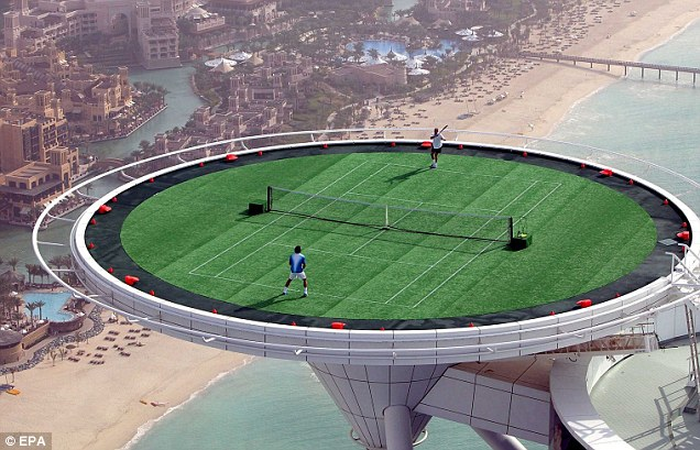 Flashback: Roger Federer and Andre Agassi play an exhibition match on the helipad of the Burj Al Arab in 2005