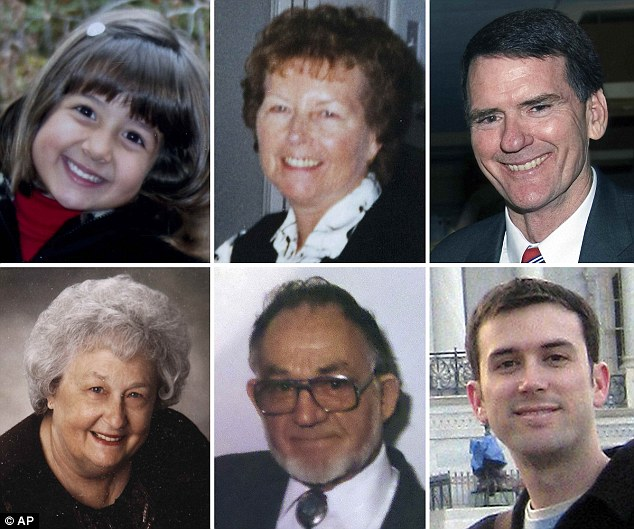 Victims: The six people killed at the Tucson shopping mall included (from top left) Christina Taylor Green, 9, Dorothy Morris, 76, John Roll, 63, Phyllis Schneck, 79, Dorwin Stoddard, 76, and Gabe Zimmerman, 30