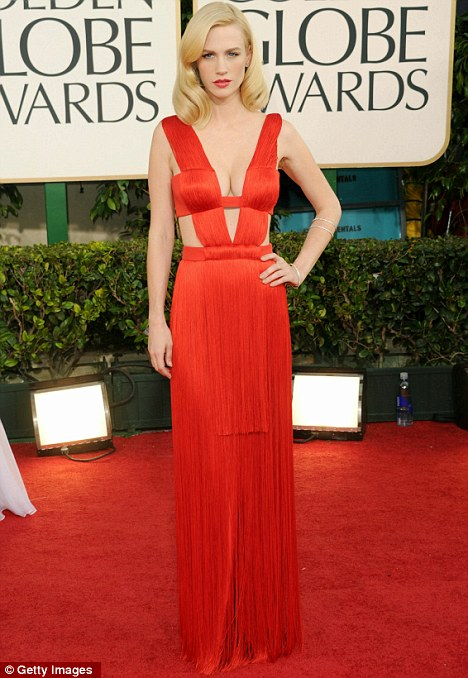 What a difference some lippy makes: January Jones arrives at the Golden Globes at The Beverly Hilton hotel in Los Angeles