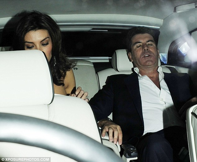 Forty winkszzzz: Simon Cowell fell asleep in the car home after perhaps over-celebrating his National Television Award win for X Factor