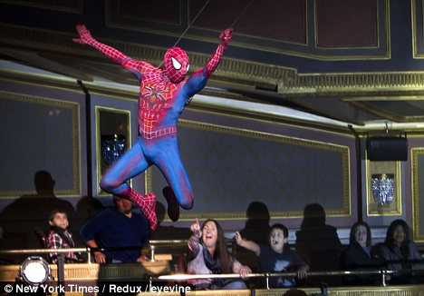 spider man flying over the crowd