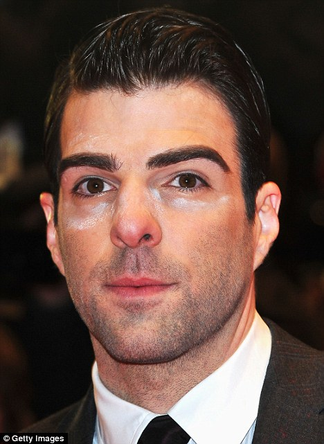 Didn't he look in the mirror? Zachary Quinto has a make-up malfunction at the Margin Call premiere during day two of the Berlin International Film Festival