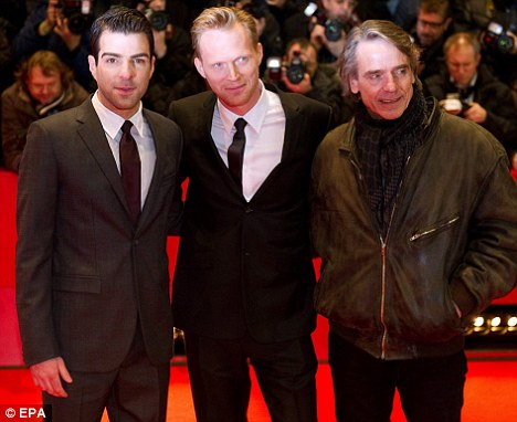 Better in this light: Quinto with Jeremy Irons and Paul Bettany