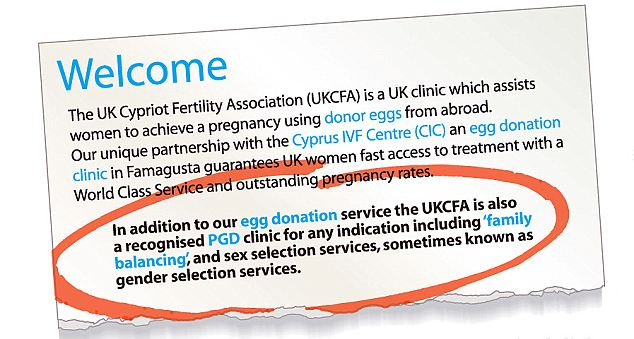 Playing God? The UKFCA website offers 'family balancing' treatment at its clinic in Cyprus, even though the procedure is illegal under British law