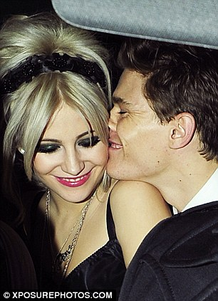 Over-refreshed? Pixie Lott and an apparently pickled friend pictured leaving the bash