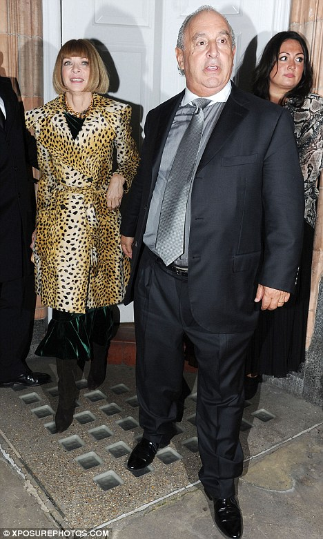 the boss: Host Sir Philip Green accompanied Vogue editor Anna Wintour