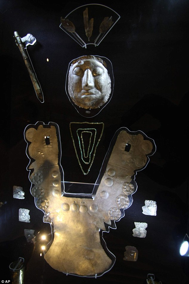 A pre-Inca lord: Gold and silver pieces are shown at Peru's National Institute of Culture in Cuzco