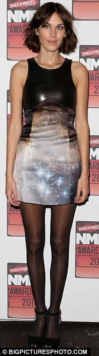 Hot ticket: Alexa Chung is the latest in a long list of famous faces to step out in Christopher Kane's galaxy print dress