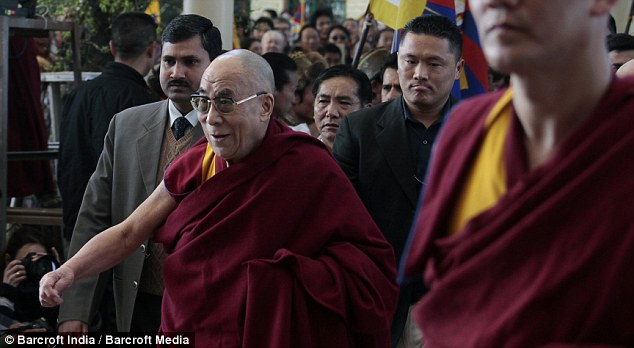 Support: Hundreds gathered in the exiled Tibetan government's base in Dharamsala, India, to hear the spiritual leader mark the anniversary of the 1959 uprising
