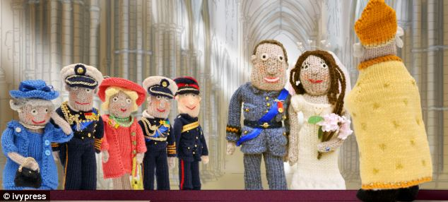 Knitted nuptials: Archbishop Rowan Williams marries William and Kate, watched by the Queen, Prince Philip, Camilla, Prince Charles and Prince Harry