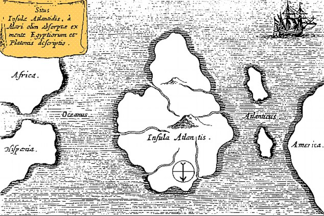 A map of Atlantis - oriented with south at the top - drawn by 17th century scholar Athanasius Kircher, who pinpointed it as being in the mid-Atlantic