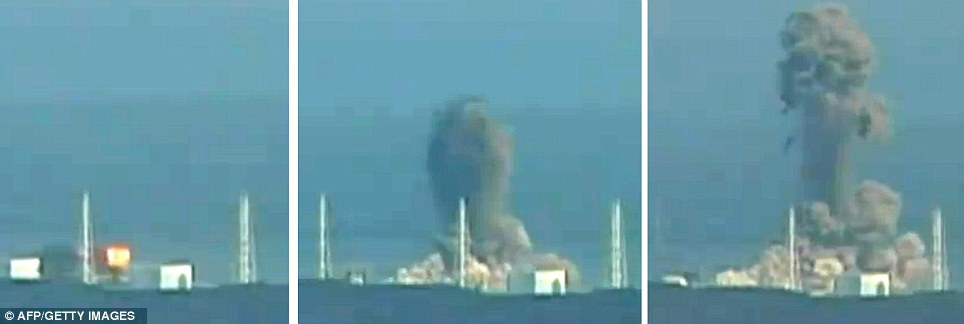 A second explosion rocks the crippled Fukushima Dalichi nuclear plant yesterday (1), (2) smoke starts to pour from the building housing the plant's third nuclear reactor before (3) as the building collapses, the black plume stretches up into the sky