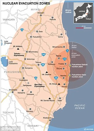 Safe? This map shows cities within the evacuation zones surrounding Japan's Fukushima nuclear plant