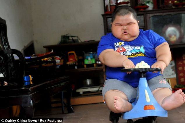 Obese: Lu Hao has managed to put on 10kg (22 lbs) in the past year