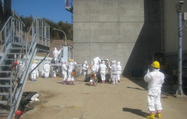 Risks: Three workers were exposed to radioactive elements while laying electrical cables today at the Fukushima Dai-chi plant. Two have been hospitalised
