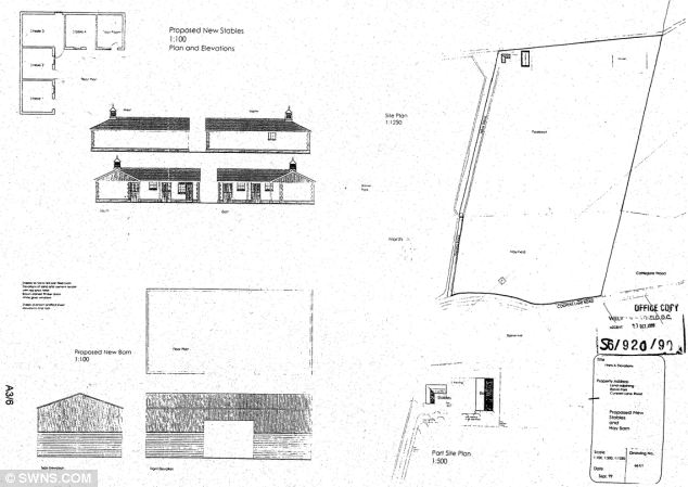 Plans for the barn built by Alan Beesley and his wife Sarah at Northaw Brook Meadow, Hertfordshire