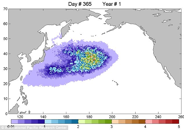 Journey: A graphic depicts the predicted location of the Japan debris field as it swirls towards the U.S. West Coast. Scientists predict the first bits of debris will wash up in a year's time