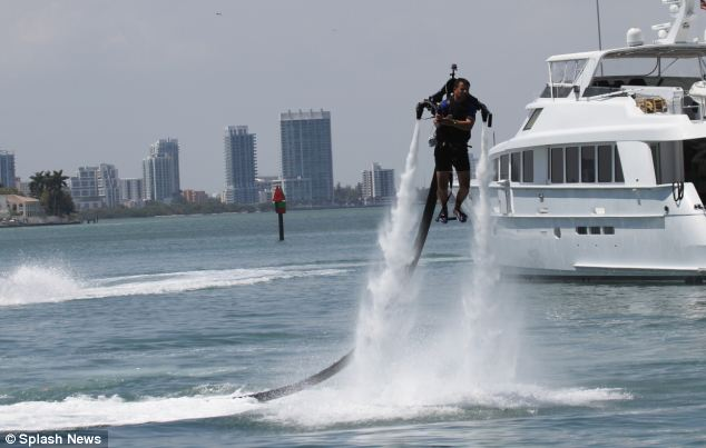 Action: The new Jetlev-Flyer being tested at Miami Beach, Florida. Almost anyone can enjoy it at a cost of more than £100,000