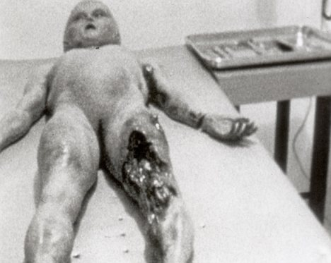 Flying saucers: One of the supposed alien victims of the Roswell UFO crash