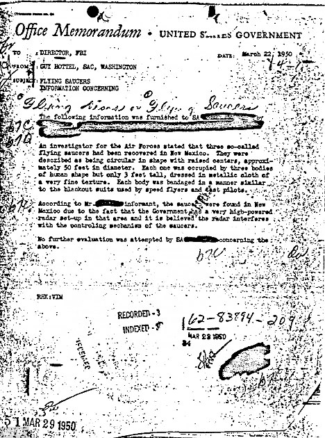 Proof of (alien) life? A copy of the 1950 memo that recounts the discovery of flying saucers and aliens in New Mexico