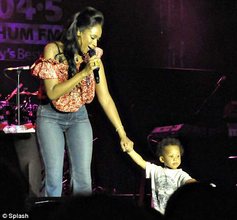 Pride and joy: Jennifer Hudson brought her adorable one year old son David Jr as she performed during 104.5 CHUM FM show at Holder House in Barbados