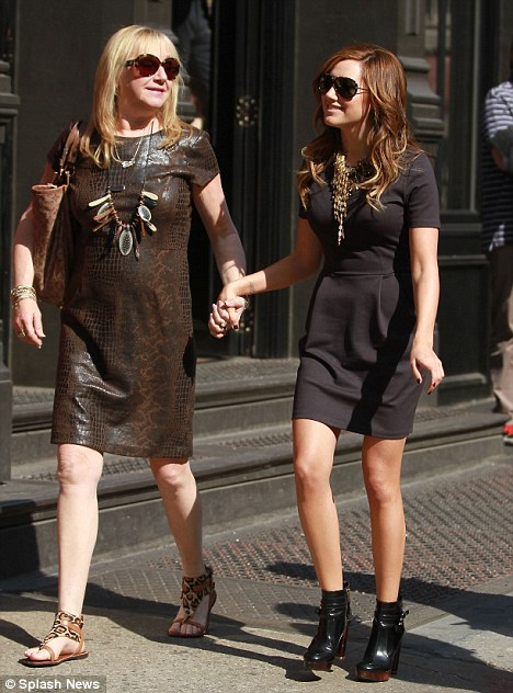 Mother-daughter style: The former High School Musical star Ashley Tisdale and her mother Lisa wore similar outfits
