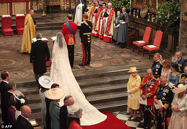 Kate Middleton arrives with her father Michael Middleton to join Prince William and his best man Harry at the altar