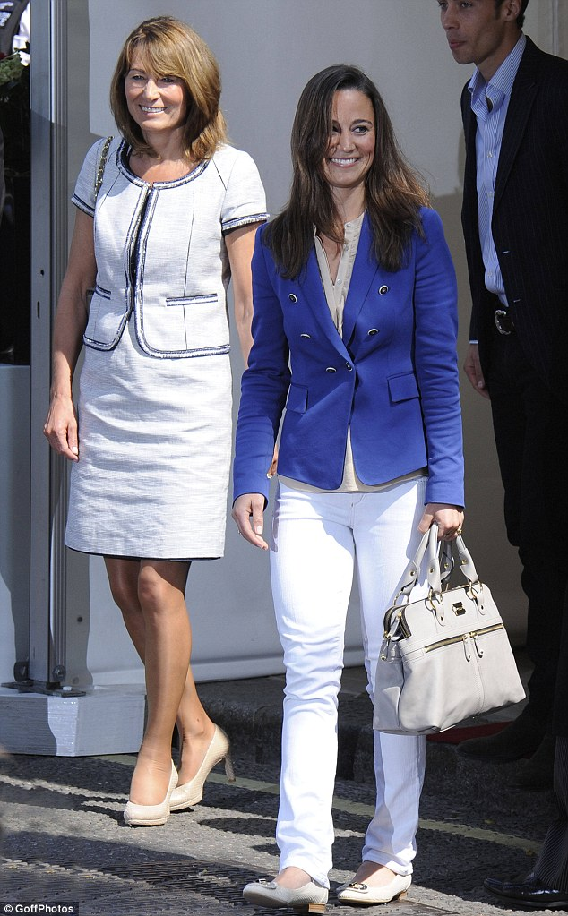 Maid of honour Pippa Middleton and her mother Carole emerge from the Goring Hotel today after last night's wedding celebration