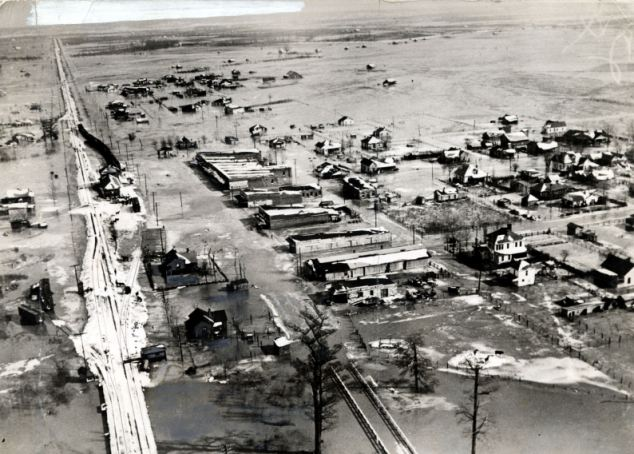 Marooned: An aerial view of the town of Sledge, inundated to a depth of 17 feet, after Mississippi floods in 1927