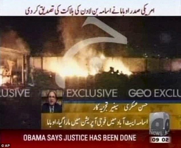 O fim: Uma imagem feita a partir de Geo TV mostra vídeo em chamas que se pensa ser o composto em que o terror mentor de Osama bin Laden foi morto domingo, 1 de maio de 2011, em Abbatabad, Paquistão
