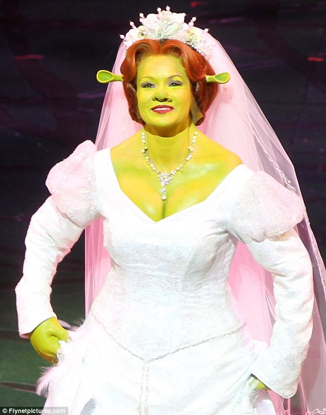 Green Queen: Amanda Holden took to the stage as Princess Fiona in the new show Shrek The Musical which previewed last night. The performance saw her transform from a pretty princess into a green ogre