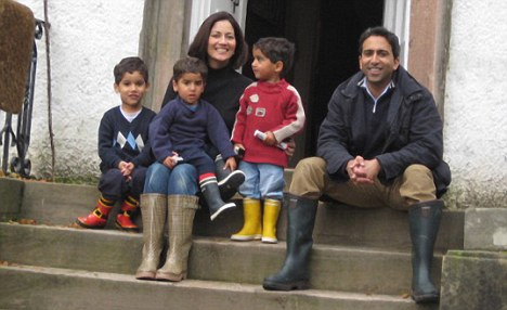Accusation: Mishal, pictured with her family, tweeted that her children were racially abused in a supermarket