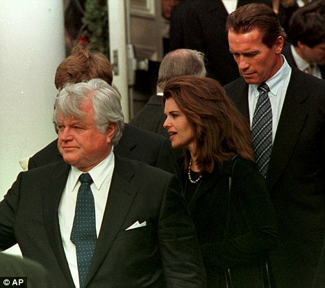Famous family: Arnold and Maria with her uncle, the late Senator Edward Kennedy after the funeral for Michael Kennedy who died in a skiing accident in 1998