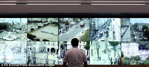 Monitoring: An officer watches CCTV cameras at the Met's Lambeth Specialist Operations Room. The facility could in future be boosted by the new technology