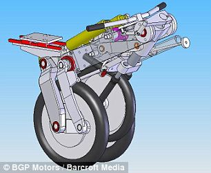 Diagram of the Uno III. This futuristic bike is an electric powered cross between a unicycle and a motorbike.