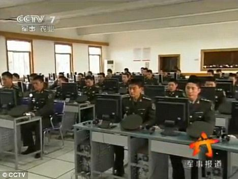 Training: Chinese troops hone their skills on the Glorious Revolution computer game