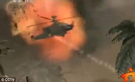 Shot: One scene depicts an Apache helicopter ship being blown out of the sky