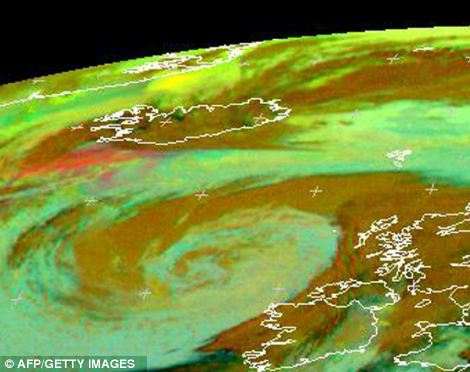 An image released by Eumetsat on May 23, 2011 shows ash over Iceland