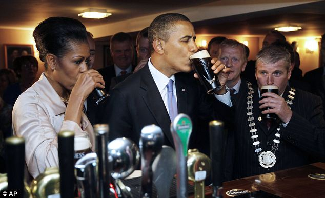Hearty swig: Barack Obama said the Guinness served in Ollie Hayes pub in Moneygall - the ancestral homeland of his great-great-great grandfather - was delicious
