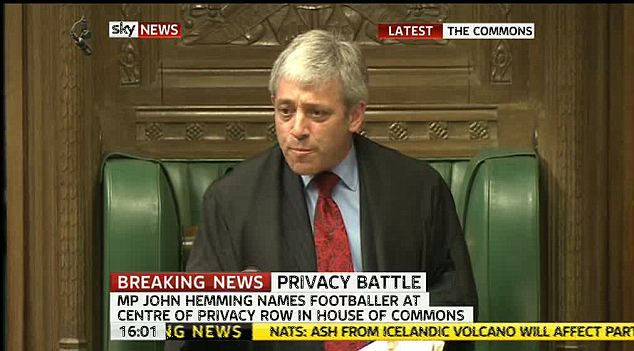 Speaker John Bercow immediately leapt out of his seat and rebuked Mr Hemming in an effort to protect the Manchester United player's identity