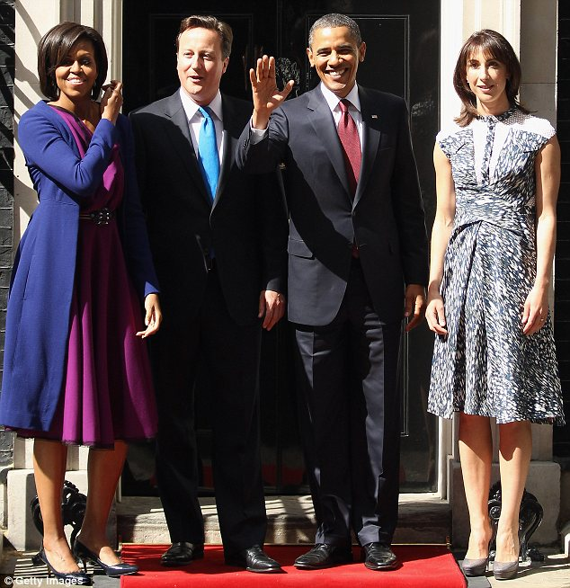 First couples: Michelle changed into a plum Roksanda Ilincic dress after lunch, while Samantha Cameron wore Australian designer Peter Pilotto