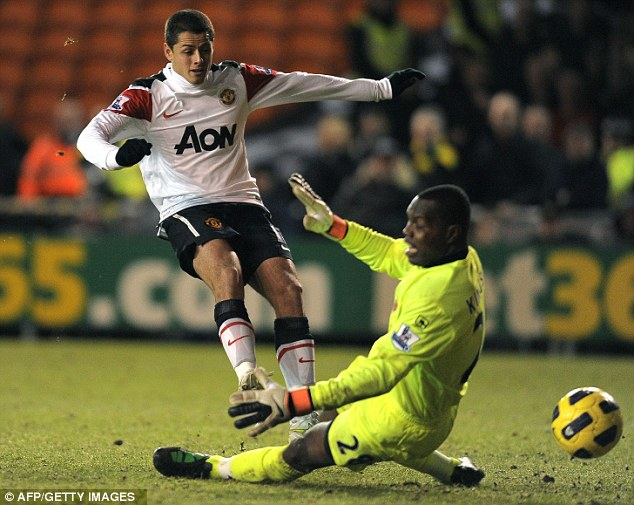 What a season: Hernandez helped United to come back and beat Blackpool in a memorable match at Bloomfield Road in January