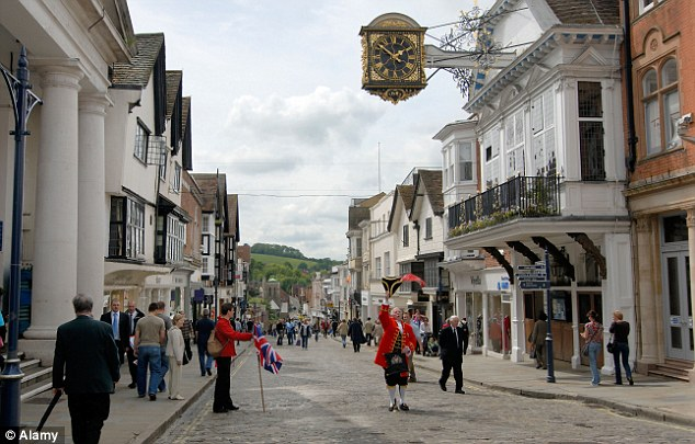 Fashionable: Commuter hotspot Guildford, in Surrey, boasts 89 'million pound streets' - the second highest in the country