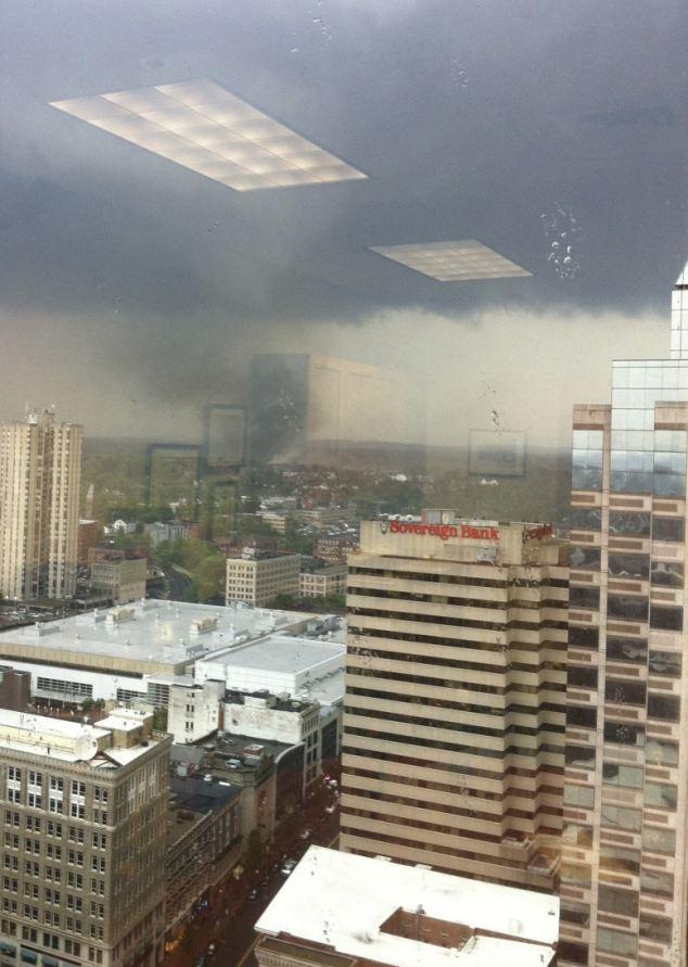 Twister: This photo, taken through a window, shows a tornado moving through Springfield, Massachusetts