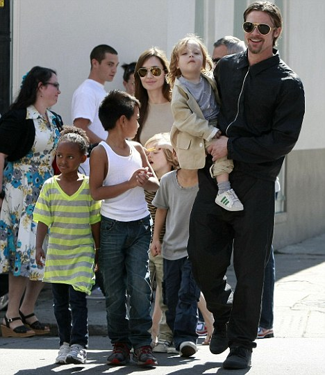 Kids day out: The six Jolie-Pitt children, Zahara, Maddox, Shiloh, Knox, Vivienne and Pax, visited New Orleans with their parents in March